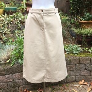 L.L. Bean Original Fit Tan Canvas / Denim Skirt